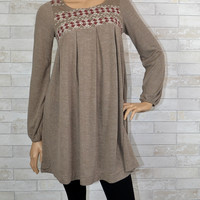 Chic Embroidery Knit Sweater Dress - Easel - Taupe