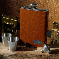 Personalized Tycoon Leather Flask Set