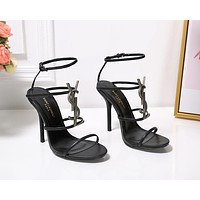 ysl fashion trending leather women high heels shoes women sandals heel 9