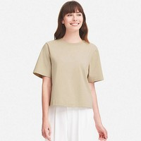 WOMEN CROPPED CREWNECK SHORT-SLEEVE T-SHIRT