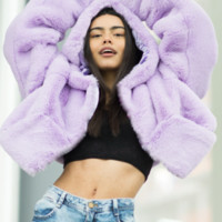 THE XENA LILAC CROPPED HOODED JACKET