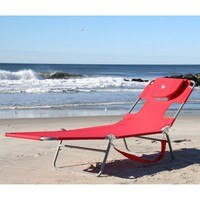 Red Chaise Lounge Beach Chair with Face Cavity & Arm Slots