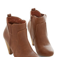 ModCloth Bustling but Beautiful Bootie in Chestnut