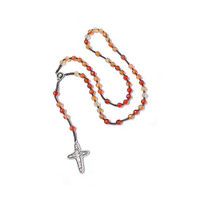 Catholic Rosary, Carnelian stone rosary, Silver plated Cross and God mother, Silk cord Rosary, in Handmade