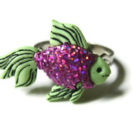 Beta Fish Ring, Green and Pink, Acrylic, Glitter Coated, Adjustable Metal Silver Toned Band