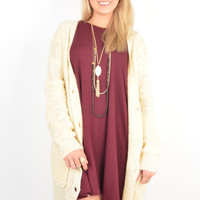 Cream Cardigan with Oversized Front Buttons and Pockets