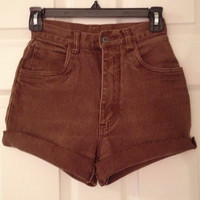 Tan brown high waisted stretch cutoffs