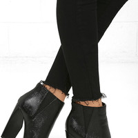 Way Wild Black Croc High Heel Ankle Booties