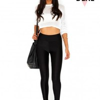 Missguided - Frenchy Value Shiny Disco Leggings In Black