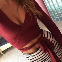 Red Wrap Tie-Waist Crop Top