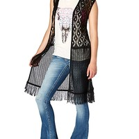 Fringed Crochet Diamond Vest