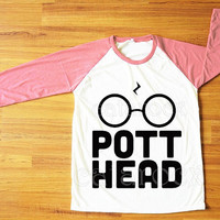 DESIGN 1 -- Pott Head Shirt Harry Potter Shirt Hogwarts Shirt Raglan Pink Sleeve Shirt Women Shirt Men Shirt Unisex Shirt Baseball Tee S,M,L