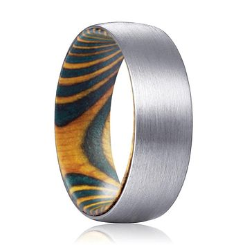 MAX Silver Tungsten Domed Brushed Finish with Green and Yellow Box Elder Wood Sleeve