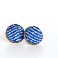 Jeans Earring Studs - Fabric Buttons Stud Earrings - Jeans Jewelry - Blue Country Earring Posts