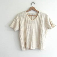 20% OFF SALE...vintage cropped sweater. creamy white cable knit sweater. short sleeve sweater. women's size XL