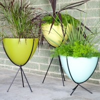 Hip Haven Retro Bullet Fiberglass Planter with Steel Stand | www.hayneedle.com