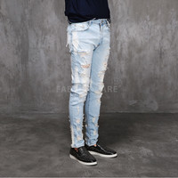 SL Destroyed Light Blue Denim Slim Skinny Jeans
