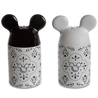 disney parks mickey gourmet kitchen salt & pepper black white new with box