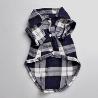 Plaids Grid Checker Shirt Lapel Costume Dog Clothes The Spring Festival T-shirt Autumn Spring Clothing For Pet Dogs Cat
