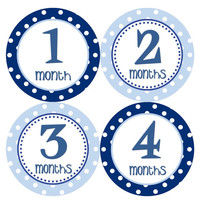 Baby Month Stickers Monthly Onesuit Stickers Baby Boy Blue 12 Month Sticker Monthly Onesuit Sticker Baby Shower Gift Photo Prop Tom
