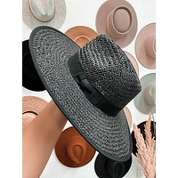 Adrift Straw Rancher Hat (Black)
