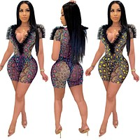 2020 new women's deep V-neck mesh stitching snake pattern sexy two-piece suit