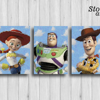 toy story poster set of 3 toy story wall art woody buzz lightyear jessie toy story nursery