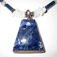 Artisan Sterling Silver Sodalite Stone Pendant Necklace Rectangle Bead Signed