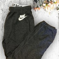 """NIKE"" Trendy Sports Stretch Dark Grey Sweatpants"