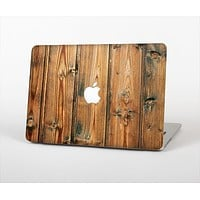 """The Vertical Raw Aged Wood Planks Skin Set for the Apple MacBook Pro 13"""" with Retina Display"""