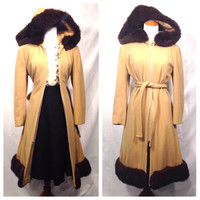 SALE!! 1960s Wool Coat With Fur Trim Hood/// Late 1960s Penny Lane Coat/// 1960s Wool Princess Coat