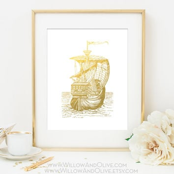 SAILING SHIP 1 Faux Gold Foil Art Print