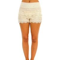 Crochet lace layered shorts with banded waist, Natural