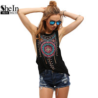 SheIn New Summer Style Women Sexy Tops Black Round Neck Sleeveless Vintage Tribal Print Fitness Casual Tank Tops