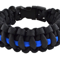 Thin Blue Line Police Paracord Wristband