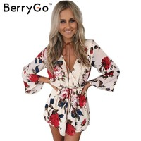 BerryGo Boho floral elegant jumpsuit romper Women summer sexy v neck one piece playsuit Beach sashes white chiffon overalls