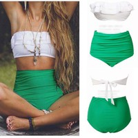 Vintage High Waist Women Tankinis Set 2015 New Summer Beach Wear Cropped Biquini Vintage Swimsuit Bodysuit Swimwear-in Tankinis Set from Apparel & Accessories on Aliexpress.com | Alibaba Group