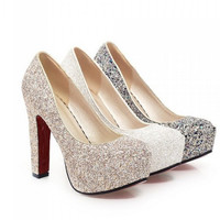 Red High Heels Glitter Pumps Shoes
