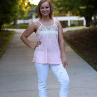 Lace and Knit Sleeveless Top