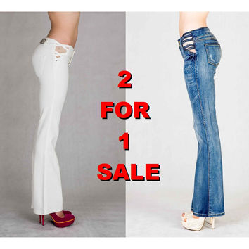 2 For 1: White & Blue Brazilian Boot Cut Jeans