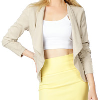LE3NO Womens Draped Front Ruched Sleeve Linen Blazer Jacket (CLEARANCE)