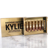 Kylie Lip 6pcs Set Matt Cup Lip Gloss Gold