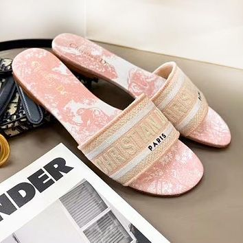 DIOR New Women Casual Retro Jacquard Embroidery Flat Slippers Sandals Shoes