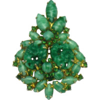 JULIANA DeLizza Elster Faux Jade Art Glass Brooch and Pendant with Chain