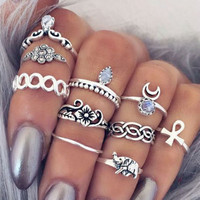 10 Units / LOT Vintage Bohemia in September Steampunk Ring Moon Elephant Ring Knuckle Rings Midi Rings for Women