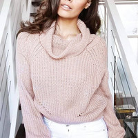 Pink High Roll Neck Chunky Knit Sweater