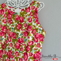 SALE - Simply spring summer sundres pink green floral dress Pleated party dress Tea Dress Small