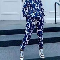 """LOUIS VUITTON"" Woman Leisure Fashion Wild Letter Personality Printing Zipper Spell Color Long Sleeve Tops Elastic Band Trousers Two-Piece Set Casual Wear Sportswear"