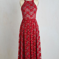 Long Sleeveless A-line With Style and Lace Dress in Red Blend