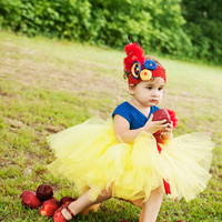 Snow White TuTu Dress with Crochet Top Set-Disney Princess TuTu Dress-Snow White Birthday Outfit
